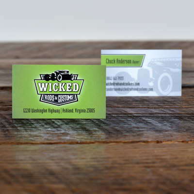 Wicked Rods and Customs business cards